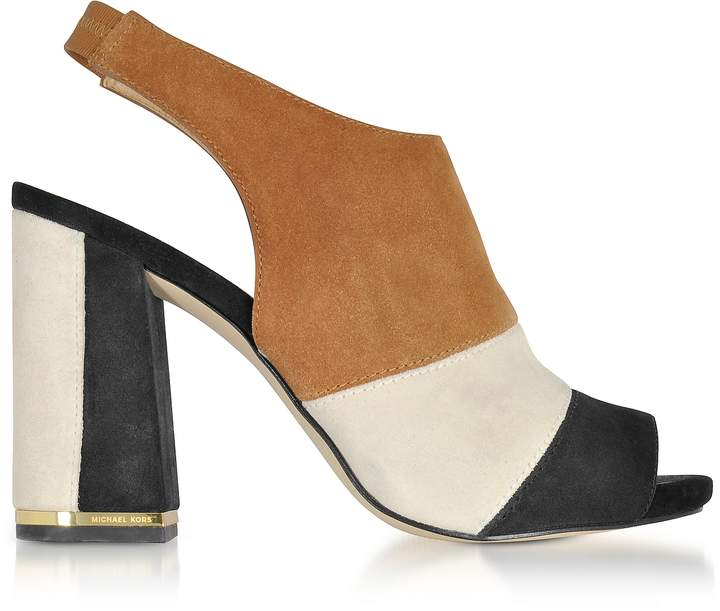 Michael Kors Anise Black and Acorn Suede Open Toe Sandals