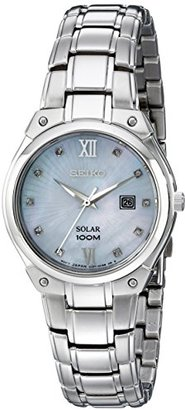 Seiko Women's SUT213 Solar Silver-Tone Stainless Steel Watch $295 thestylecure.com