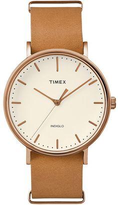Timex Unisex Weekender Fairfield Leather Watch - TW2P912009J $79.95 thestylecure.com