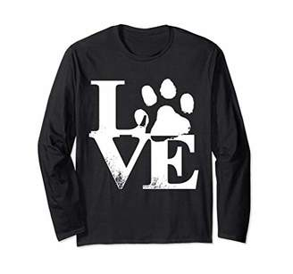 71fe787bd82 I Love My Cats Dogs Paw Print LS Shirt Women