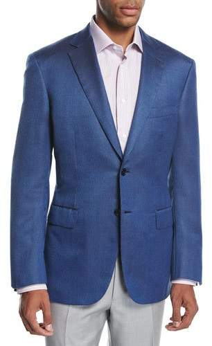Brioni Brioni Textured Wool-Silk Two-Button Sport Coat, Blue