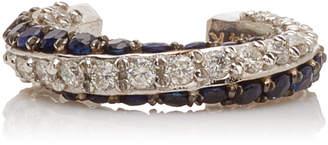 TULLIA 14K White Gold Diamond And Sapphire Ear Cuff