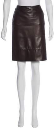 Prada Leather Knee-Length Skirt brown Leather Knee-Length Skirt