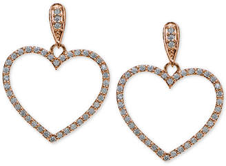 Giani Bernini Cubic Zirconia Pave Heart Drop Earrings in 18k Rose Gold-Plated and Gold-Plated Sterling Silver, Created for Macy's