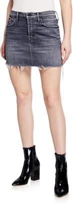 Mother The Vagabond Mini Fray Denim Skirt