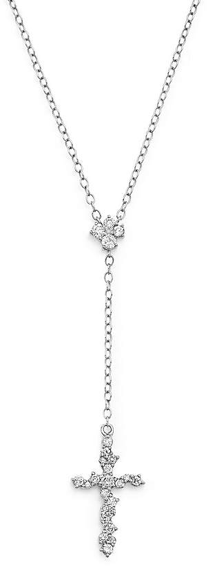 Bloomingdale's Diamond Cross Y Necklace in 14K White Gold, .35 ct. t.w. - 100% Exclusive