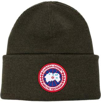 Canada Goose military green logo patch wool beanie