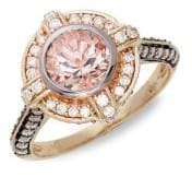 "LeVian Le Vian® Peach Morganiteâ""¢ and Chocolate & Vanilla Diamondsâ""¢ 14K Strawberry Gold® Ring"