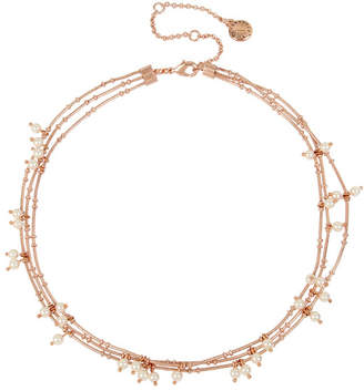 BCBGeneration Pearl Rose Gold Multi Row Layered Necklace