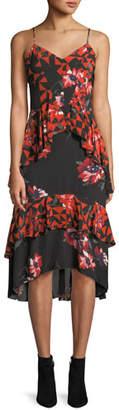 Joie Ronelle Geometric Floral Ruffle Midi Dress