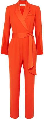 Diane von Furstenberg Mick Belted Crepe Wrap-effect Jumpsuit - Orange