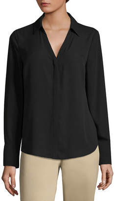 WORTHINGTON Worthington Womens Long Sleeve Modern Fit Button-Front Shirt