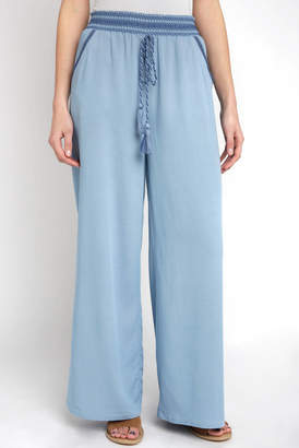 Abbeline Chambray Pull On Wide Leg Pant