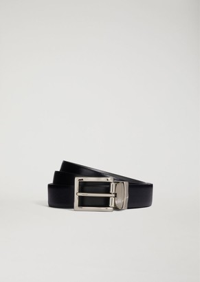 Emporio Armani Saffiano Leather Belt With Metal Buckle