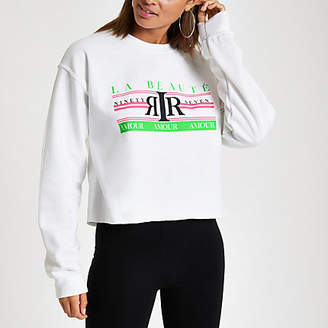 River Island Womens White 'La beaute' neon print sweatshirt