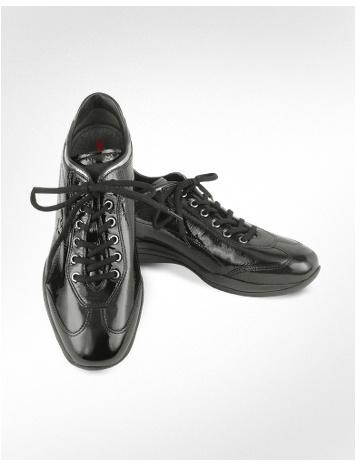 Prada Linea Rossa - Women's Black Patent Leather Sneaker Shoes