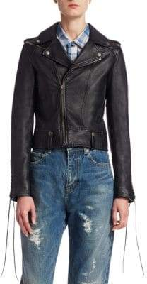 Saint Laurent Leather Lace-Sleeve Moto Jacket