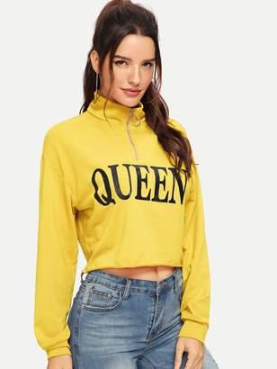 Shein Letter Print Pull Zip Raw Hem Sweatshirt