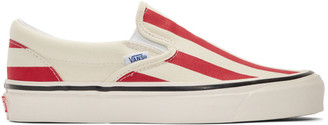 Vans Red and White Striped Classic 98 DX Slip-On Sneakers