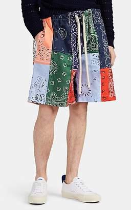 Loewe Men's Bandana-Patchwork Cotton Poplin Drawstring Shorts