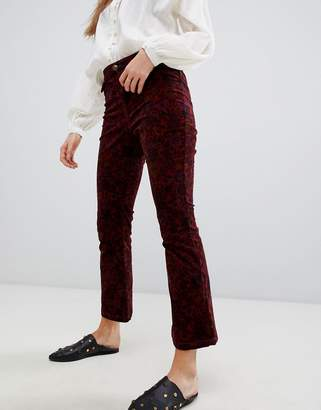 Free People printed cropped kick flare jeans