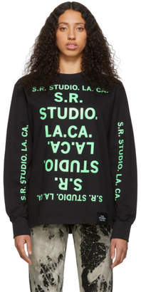 S.R. Studio. La. Ca. S.R. STUDIO. LA. CA. Black and Green Unlimited S.R.S. Double Logo Basic Long Sleeve T-Shirt