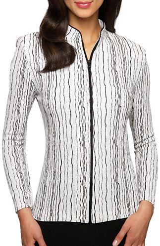 Alex EveningsAlex Evenings Plus Striped Shimmer Jacket