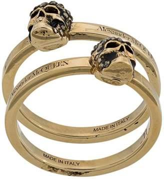 Alexander McQueen two-piece skull ring set