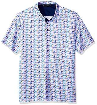 Bugatchi Men's Modern Trim Fit Triangle Multi Polo Shirt