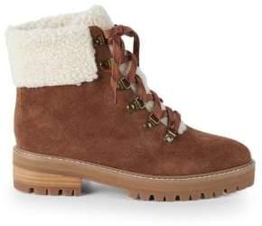 Myra Faux Fur Trim Suede Hiking Boots