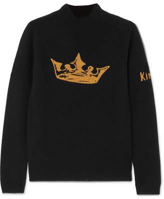 Bella Freud Crown Metallic Intarsia Wool And Cashmere-blend Sweater - Black
