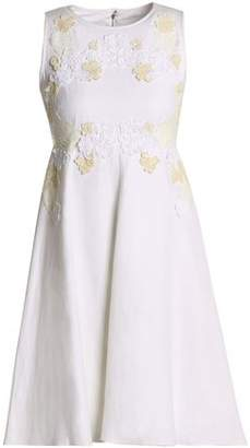 Dolce & Gabbana Flared Lace-Appliquéd Linen-Blend Canvas Dress
