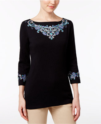 Karen Scott Embroidered Boat-Neck Top, Only at Macy's $36.50 thestylecure.com