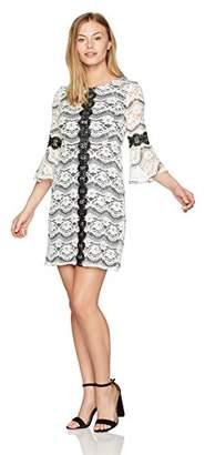 Gabby Skye Women's Petite Bell Sleeve Round Neck Lace A-line Dress