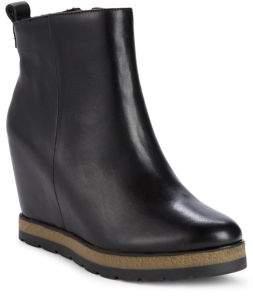 Donna Karan Dee Wedge Heel Leather Booties