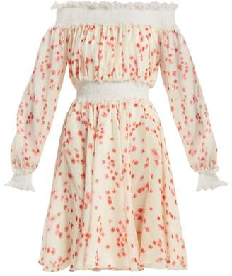 Giambattista Valli Petal Print Silk Chiffon Off The Shoulder Dress - Womens - White Multi