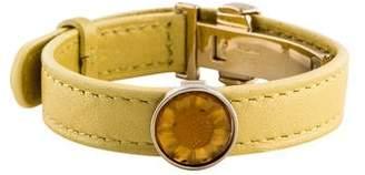 Lalique Crystal & Leather Wrap Bracelet