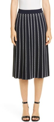 Tory Burch Gemini Link Jacquard Pleated Skirt
