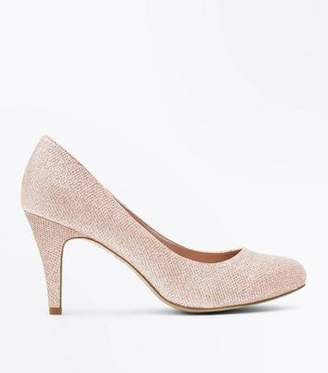 New Look Wide Fit Rose Gold Glitter Wedding Court Shoes