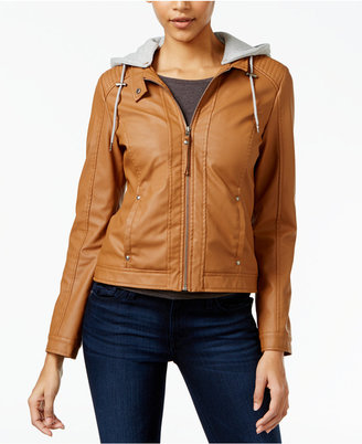 Celebrity Pink Juniors' Hooded Faux-Leather Jacket $69.50 thestylecure.com
