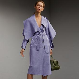 Burberry Cotton Chambray Sculptural Wrap Dress , Size: 08, Blue