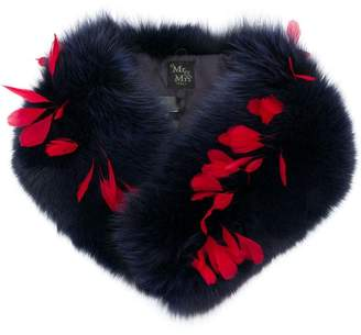 Mr & Mrs Italy fox fur and feather scarf