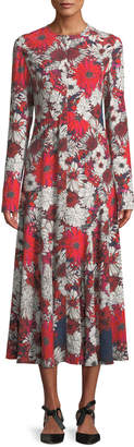 Cédric Charlier Long-Sleeve Floral-Print A-Line Long Dress