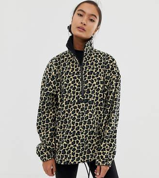 Puma oversized cheetah print polar fleece jumper