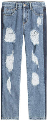 Sjyp Distressed Sid Straight Leg Jeans with Cropped Ankle
