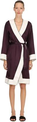 Silk Satin Kimono W/ Embroidered Trim