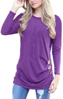 Q&Y Women's Casual Long Sleeve Loose Tunic Buttons Decor Tops Blouse T-Shirt Sweater Grey M