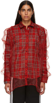 Y/Project Red Organza Layered Check Shirt