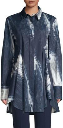Donna Karan Printed Flowy Button-Down Tunic