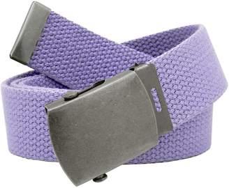 Build A Belt Women's Antique Silver Slider Belt Buckle with Canvas Web Belt Medium